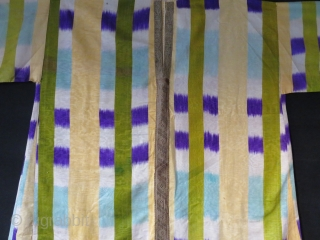 "Uzbekistan Bokhara Woman silk adras ikat shirt. Circa 1900 or earlier. Size : Arm to arm -  77"" and 47"" tall. Has a few very small soft stains. In great condition  ..."