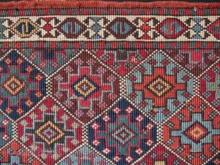 "Shahsevan Moghan reverse sumak mafrash panel. Size; 22.5"" x 27"" (57cm x 69cm)."