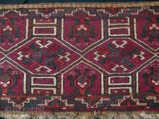 "Turkmen Ersari torba with kejebe design. Great pile and condition. Unusual cochineal color background Circa 1900 or earlier. No Russian red. Size; 14"" x 57"" - 36 cm x 144 cm."