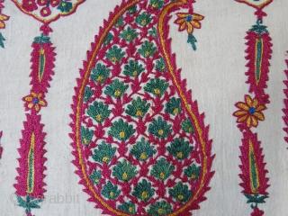 "Indian wedding shawl fragment. silk emrbodiery on fine cotton. Plain fine cotton backing. Circa - 1900- 1920 size : 66"" X 13"" - 33 cm x 168 cm."
