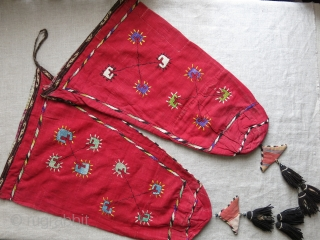 Afghanistan - Kunduz- Lakai tribal ceremonial ethnographic bags. silk emrboidery on fine silk -like cotton with wool tassels and cotton ikat amulets. Lined with adras ikat and extra woven band trim. Embroidery  ...