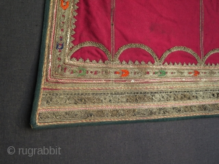 """Balkan metallic embroidered apron.  Size: 28 cm to 39 cm wide and 73 cm high - 11"""" - 15"""" x 23"""""""