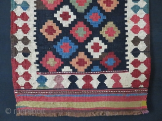 """Shahsavan kilim bag face, saturated color with one little motif Fuchsine indicates that it is late 19th cent. Tiny lower right corner repair. Size : 23"""" by 18"""""""