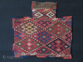 "CAUCAUS Azerbaijan extra weft tightly woven tribal animal Salt bag with original side wrappings.  Natural colors.Circa : 1900 - Size : 16.1/2"" x  15"" -  42 cm X 38  ..."