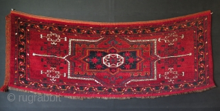 "Turkmen Ersari large torba. Great saturated natural colors. Whites are mostly cotton. Circa 1900. Size: 24"" x 63"" - 60 cm x 160 cm."