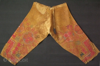 Kirgiz leather tribal panths. Both side fine silk embroidery with traditional talismanic designs. Circa : second half of 19th cent.