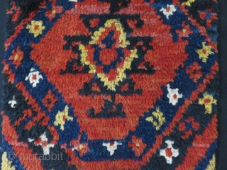 "Uzbekistan Julkur rug panel - ""bear skin"" all wool tribal woven rug. Very small area repairs- Low pile areas are less than good pile areas. Circa 1900-1920. Size: 93"" X 16"""