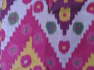 Uzbekistan Shoi silk on silk ikat women's shirt - Kurta. It is fairly in great condition..  a few spots small run form another source. but close up yellow purple with three  ...