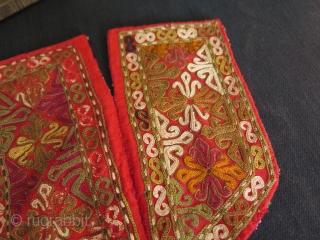 "Chodor silk embroidered fragments. Size: 6.6"" x 6.6"" - 17 cm x 17 cm."