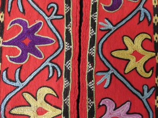 Uzbekistan - Shehrisabz Lakai chapan collar, silk fine chain stitch embroidery on broadcloth. light lavender color,  fuchsine indicates its age, all other colors are saturated great shades of natural dyes. Size  ...