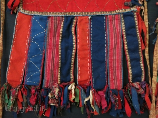 "Turkmen tribal ceremonial pair of Camel knee trappings. Circa 1900 -1920 size: 9"" by 11"" - 10"" long tassels."