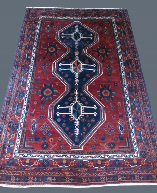 "Afshar main rug,wool on cotton foundation, full pile, traditional designs with fine weave very saturated colors, it looks like Qashkai wool and dyes.!! Size :  120"" X 76.5"" - 305 cm  ..."