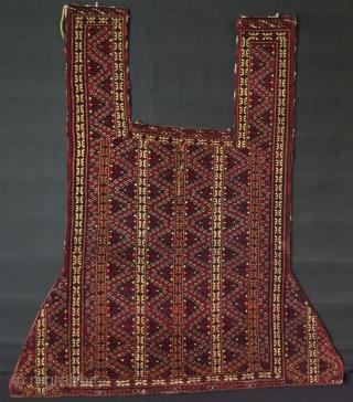 "Turkmen Yamud horse cover. Circa 1900. Minor repairs. Size: 53"" x 48"" - 136 cm x 123 cm."