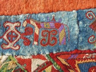 "Uzbekistan Lakai silk embroidered felt. Circa late 19th C. Size: 58"" x 147"" - 147 cm x 373 cm."