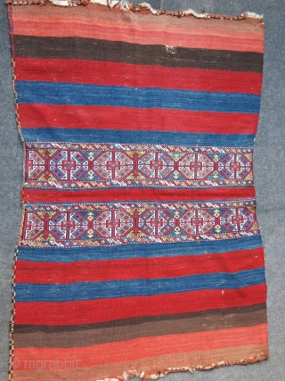 "Southeast Anatolian, MARASH Kurdish tribal clothing bag. All wool, plain sumak weave, natural colors. Circa late 19th cent. Size : 59"" X 38""  - 149 cm X 96 cm"