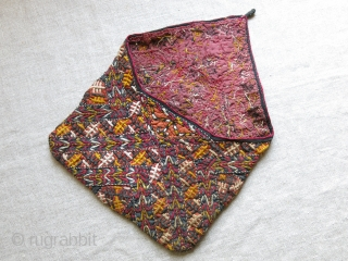 "Turkmen Tekke silk embroidered Small bag. Fairly in good condition, plane cotton lining. Circa 1920-1930. size : 11"" long open - 8.5"" wide."