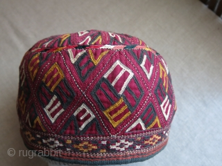 "Turkmenistan Tekke tribal ceremonial large size hat. Fine silk embroidery on silk with traditional Tekke motifs. Quilted and cotton lining with embroidered trim. circa 1900 - size - 8"" in diameter and  ..."