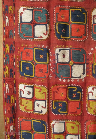 "Uzbekistan Lakai - lakay embroidered kilim. Good condition with saturated natural dyes. 4' 4"" x 12' 10"" - 134cm x 395cm."