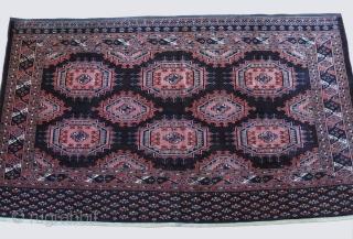 "Saryk Turkmen Chuval - deep purple background with not stiff guls., still has pile.great condition. size : 54"" X 38"" - 138 cm X 98 cm"