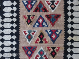 "Qashkai tribal kilim migration cargo bag end panel. all wool with natural colors. Circa :1920s size 39"" X 18"" - 99 cm X 46 cm"