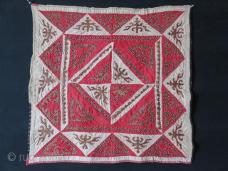 """Kirgiz Oina Khalta - tribal mirror cover. Leather and trade cloth patchwork with triangle designs, hand loomed cotton backing/ some stitching repairs are done very carefully. size: 22"""" X 22.1/2"""" - 56  ..."""