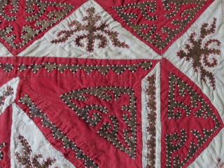 "Kirgiz Oina Khalta - tribal mirror cover. Leather and trade cloth patchwork with triangle designs, hand loomed cotton backing/ some stitching repairs are done very carefully. size: 22"" X 22.1/2"" - 56  ..."