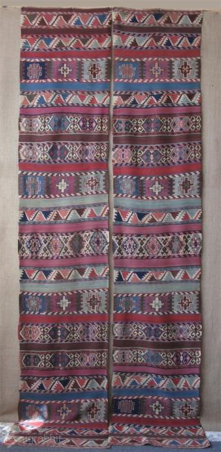 "Maras Elbistan area Kurdish kilim. Size of each panel; 2'7"" x 12'8""(84cm x 390cm)."