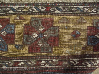 "East Anatolian Kurdish long rug. Mid 19th. Century. Small areas old restorations. date reads, 1275 - it comes to 165-170 years. Size: 52"" x 122"" (132cm x 310cm)."