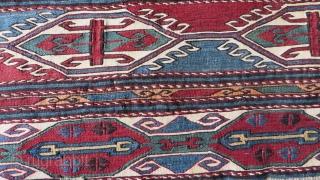 "Caucasian very fine sumak woven mafras side panel. Size: 17"" x 46"" - 44cm x 118cm."