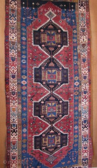 East Anatolian Kurdish main rug. Wool and cotton spun warps cotton and wool wefts circa 1900 or earlier.