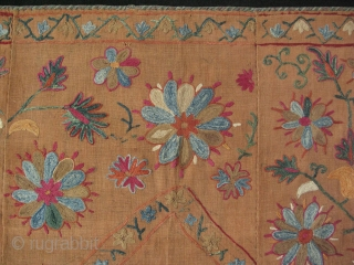 """Bokhara Joynamaz. Silk embroidery on dyed karboz / hand loomed cotton. Saturated natural colors. Size: 31"""" x 51"""" -79 cm x 130 cm."""