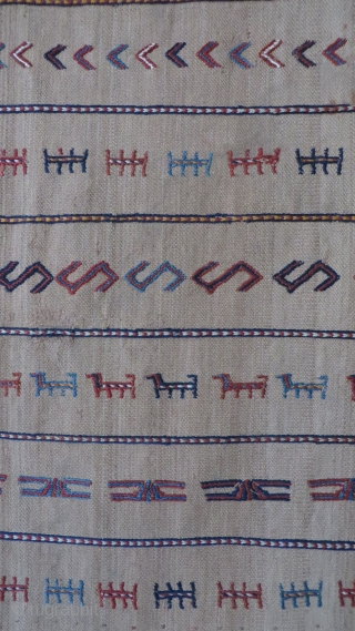 "Shahsavan small warp-faced woven camel hair kilim. Wool sumac weave with natural dyes. Circa 1900s or earlier. couple litte hole restored with camel hair and natural wool. Size: 48"" by 25"""