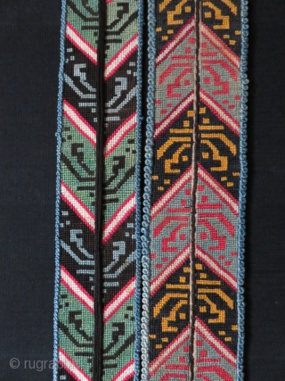 "Uzbekistan Shehri Sabz, 2 Lakai silk cross stitch dress collar. Size: 42"" long - almost 3"" wide"