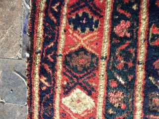 Old Kurdish Rug.All naturel colors.Some old repairs.126x276cm