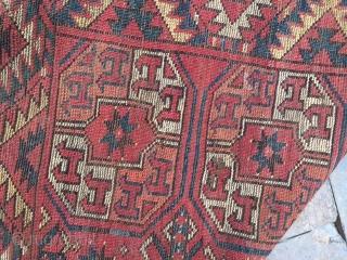 Yamut or Ersari main carpet with tauk nuska guls, fragmented at top .190x290cm