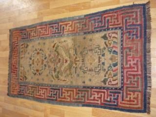 tibet rug size:73*137 wool on wool age 1910