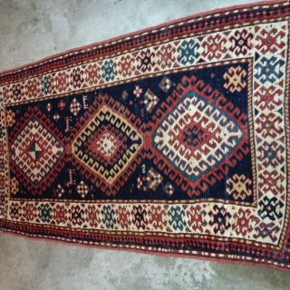 Gorgeous Bordalou Kazak ca 1880s. Classic design and all natural saturated dyes. Mostly full and medium pile with lower pile in the center. A several inch repair of one corner, professional done.  ...