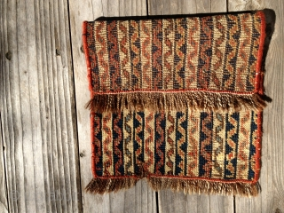 Early Afshar fragment in the cane design. All good natural dyes and colors. A very attractive piece. Medium low pile. Clean. Buyer pay shipping. Size 17X12in./43X30cm.