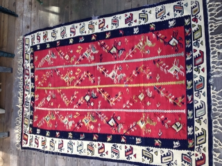 Early 20th C. Balkan kilim. Nice saturated natural colors. Some small repairs as