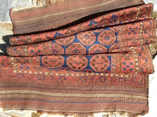 Baluch rug, ca 1900. Retains original length kilim ends with only slight damage. Medium pile throughout with one tiny hole and one spot of fold wear easily repaired. an abrash seen in  ...