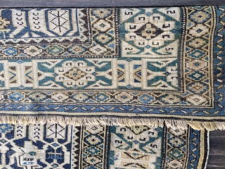 "Antique Caucasian Kuba Konagkend Rug, probably last half 19thC. Good condition with overall low pile. Size 48""X 60""/122 X 152cm. All natural colors including blues, blue-green, yellow and black. Selvedges replaced but  ..."