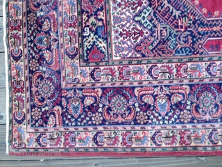 "Antique Anatolian Prayer Rug, probably late 19thC. Very good condition with all colors derived from natural dyes. Original flat selvedges. Ends original and stabilized. Size 4'2""X 6'4"". Good pile throughout except for  ..."