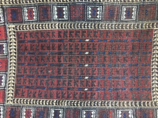 Small Antique Baluch rug, probably late 19thC. Good condition with original kilim ends. selvages replaced. Good condition with lower pile in center. Unusual border design. Nice saturated colors including a brilliant blue  ...