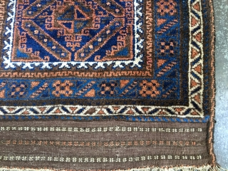 Antique Baluch Prayer Rug, possibly Timuri, from the first quarter of the 20th century. Excellent condition in full pile and with complete kilim ends. All natural colors including saturated blues. Floppy handle  ...