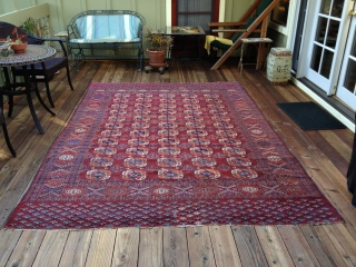 Antique Tekke Turkoman Main Carpet in excellent condition. Circa 1890. All natural colors including at least three blues, two greens and yellow. Soft handle with shiny wool. Good pile throughout, slightly lower  ...