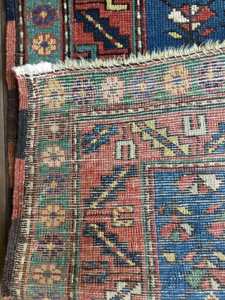 Colorful Antique Caucasian Shirvan or Shirvan-Kuba Prayer Rug from the late 19thC. Some wear with medium to full pile throughout. All natural colors with nice abrashes and several blues, greens and a  ...