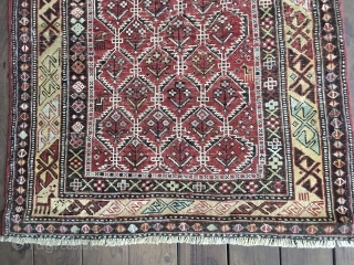 Lovely Antique Dagestan Prayer Rug with an attractive lattice field, circa 4th Quarter 19th Century. All natural colors including lemon yellow. Several quadrupeds in the field. Intricate border designs. Original selvedges. Good  ...