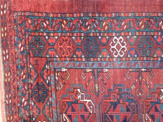 Ersari chuval from second half of the 19th C. Good colors including yellow,three blues and a blue/green. Center gul contains purple silk. Fine weave with a KPSI of 200. Medium pile lower  ...
