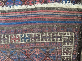 """Antique Baluch rug, most likely 4th Qtr 19th century. Unusual diagonal field pattern with all natural colors including an outstanding purple. Size: 4'10""""X 3'1"""". Soft, thin blanket-like handle and glossy wool. Medium  ..."""