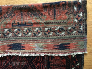 Beautiful Antique Baluch rug, probably late 19thC. Very good condition with good pile and very few low places. Only sight oxidation. All organic colors including nice blues and green. Original selvages and  ...